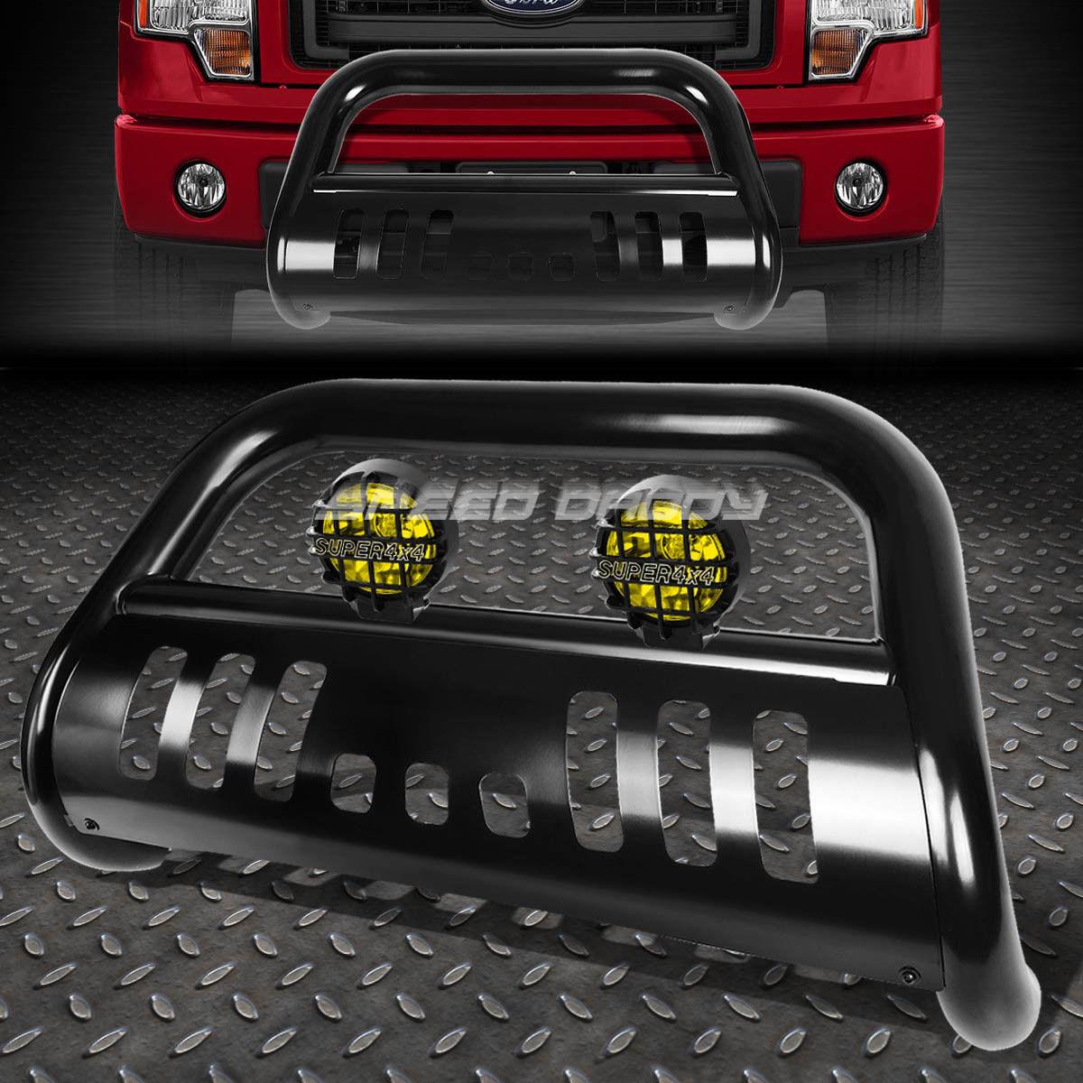 フォグライト BLACK BULL BAR GRILLE GUARD+YELLOW FOG LIGHT FOR 11-16 FORD F250-F550 SUPERDUTY ブラックブルバーグリルガード+イエローフォグライト11-16フォードF250-F550スーパードゥー
