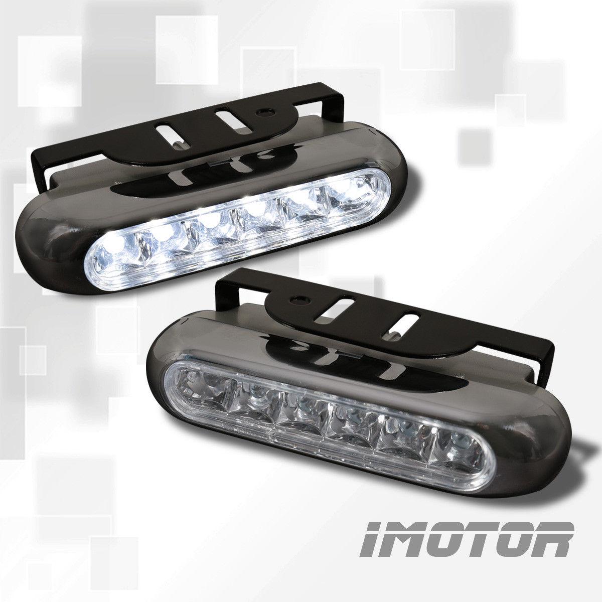 フォグライト AUDI STYLE BLACK COVER 6-LED DRL DAYTIME RUNNING BUMPER FOG LIGHTS LAMPS AUDI STYLE BLACK COVER 6 LED DRL日中ランニングバンパーFOG LIGHTS LAMPS