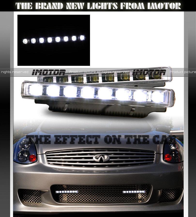 フォグライト HI INTENSITY 7000K R8 SLIM 4 LED DAYTIME RUNNING BUMPER FOG LIGHTS ハイインテンシティ7000K R8 SLIM 4 LED日中ランニングバンパーフォグライト
