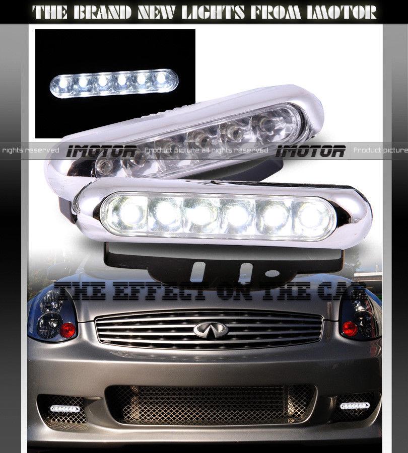 フォグライト 7000K SLIM EURO CHROME COVER 6-LED DAYTIME RUNNING BUMPER FOG LIGHTS LAMPS 7000Kスリムユーロクロームカバー6 LED日中ランニングバンパーフォグライトランプ