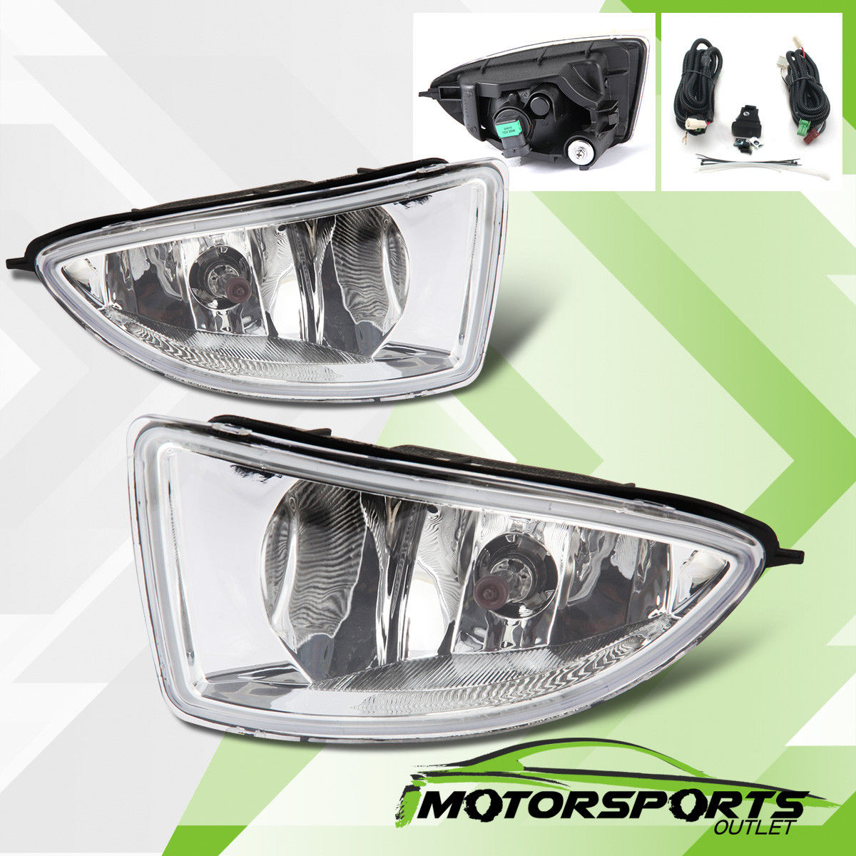 フォグライト For 2004 2005 Honda Civic 2DR/4DR Coupe Sedan Clear Fog Lights w/ Switch+Harness 2004年のホンダシビック2DR / 4DRクーペセダンクリアフォグライト(スイッチ+ハーネス付)