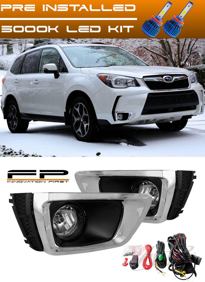 フォグライト For 2014-2017 Subaru Forester XT Clear Fog Lights Lamps Complete Kit + LED Kit 2014-2017年スバルフォレスターXTクリアフォグライトランプコンプリートキット+ LEDキット