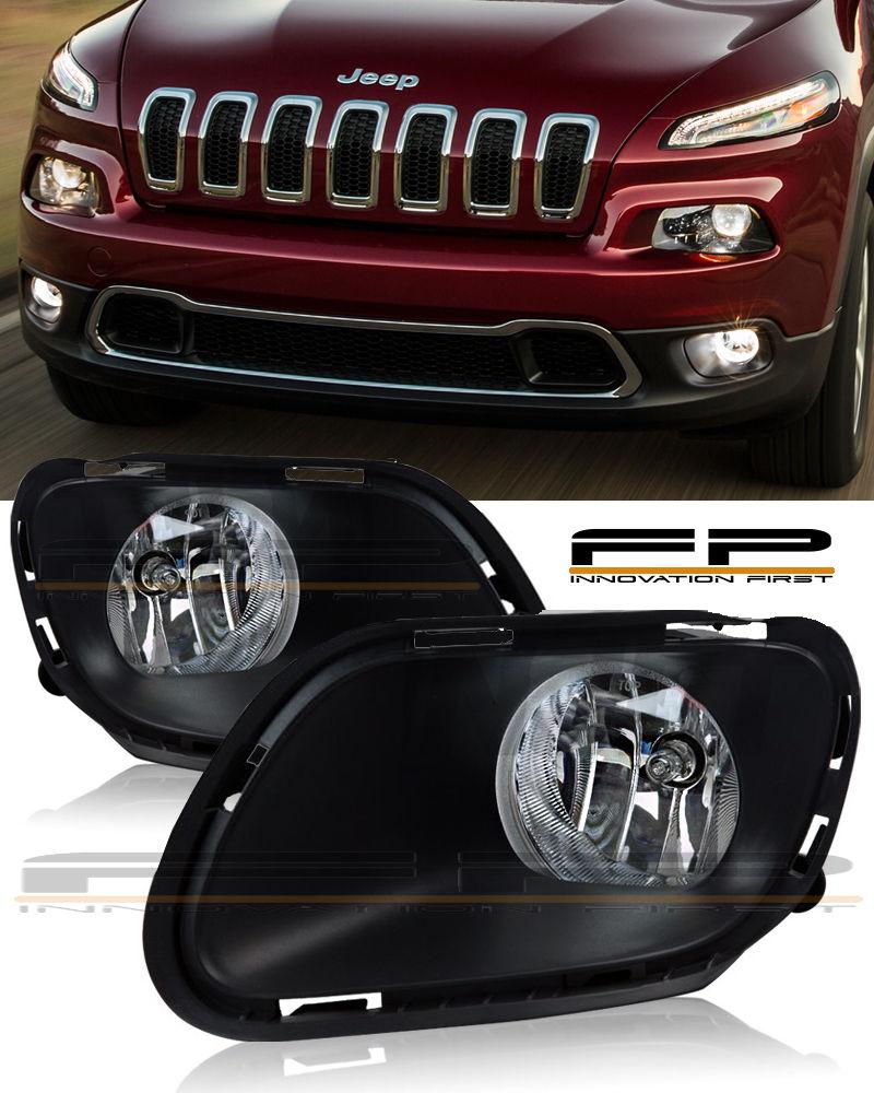 フォグライト For 2014 - 2017 Jeep Cherokee Clear Fog Lights Full Complete Kit Switch+Wiring 2014年 - 2017年ジープチェロキークリアフォグライトフルコンプリートキットスイッチ+配線