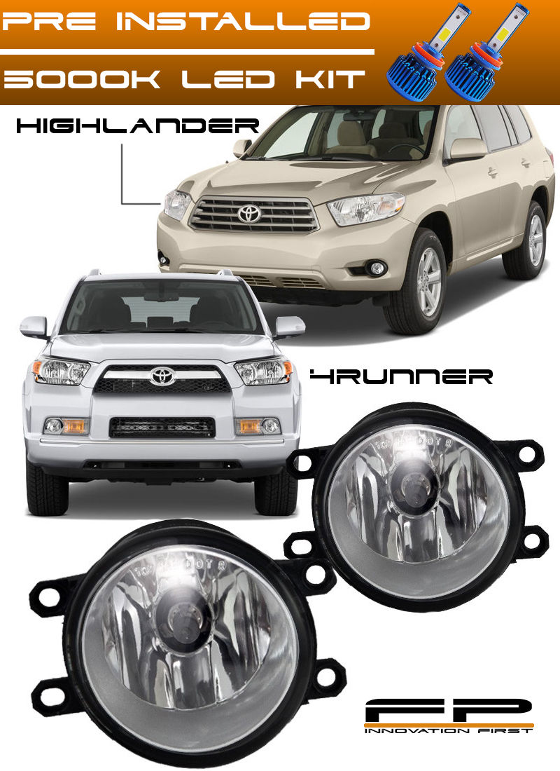 フォグライト LED 10-15 Toyota 4Runner 08-10 Highlander Clear Replacement Fog Light Housing LED 10-15トヨタ4Runner 08-10ハイランダークリア置換フォグライトハウジング