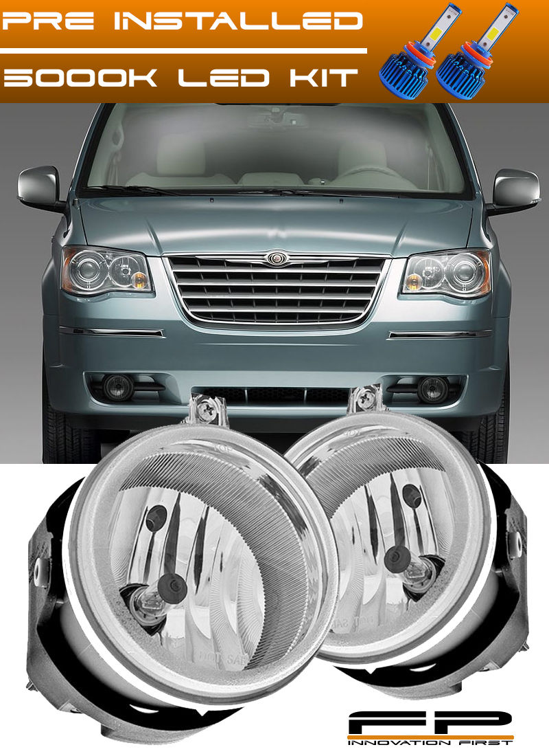 USフォグライト LED 2005-2009 Chrysler Town & Country Clear Replacement Fog Lights Housing Pair LED 2005-2009クライスラータウン& カントリークリア交換用フォグライトハウジングペア