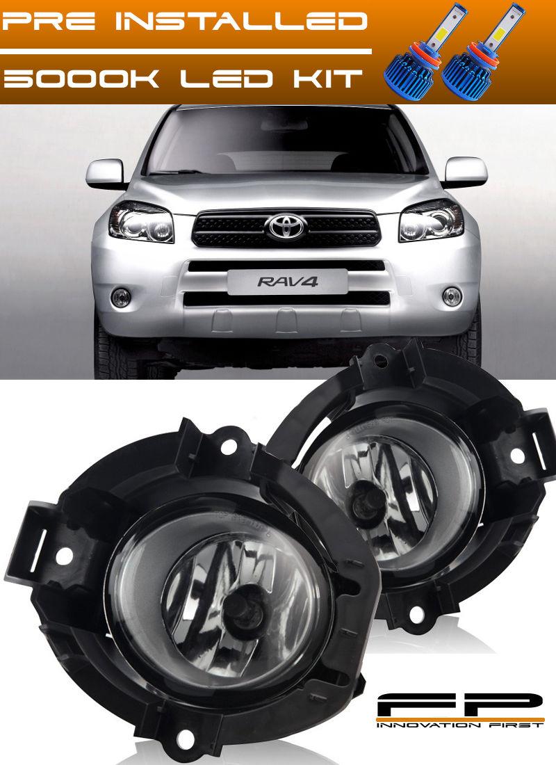 フォグライト 2006 2007 2008 Toyota RAV4 Clear Lens Fog Lights Full Complete Kit + LED KIT 2006年2007年2008トヨタRAV4クリアレンズフォグライトフルコンプリートキット+ LEDキット