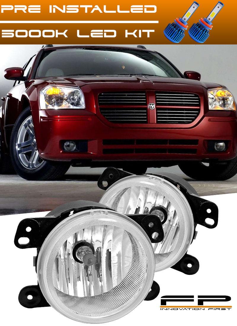フォグライト LED + 2005-2007 Dodge Magnum Replacement Fog Lights Lamp Housing Assembly Pair LED + 2005-2007ドッジマグナム交換フォグライトランプハウジングアセンブリペア