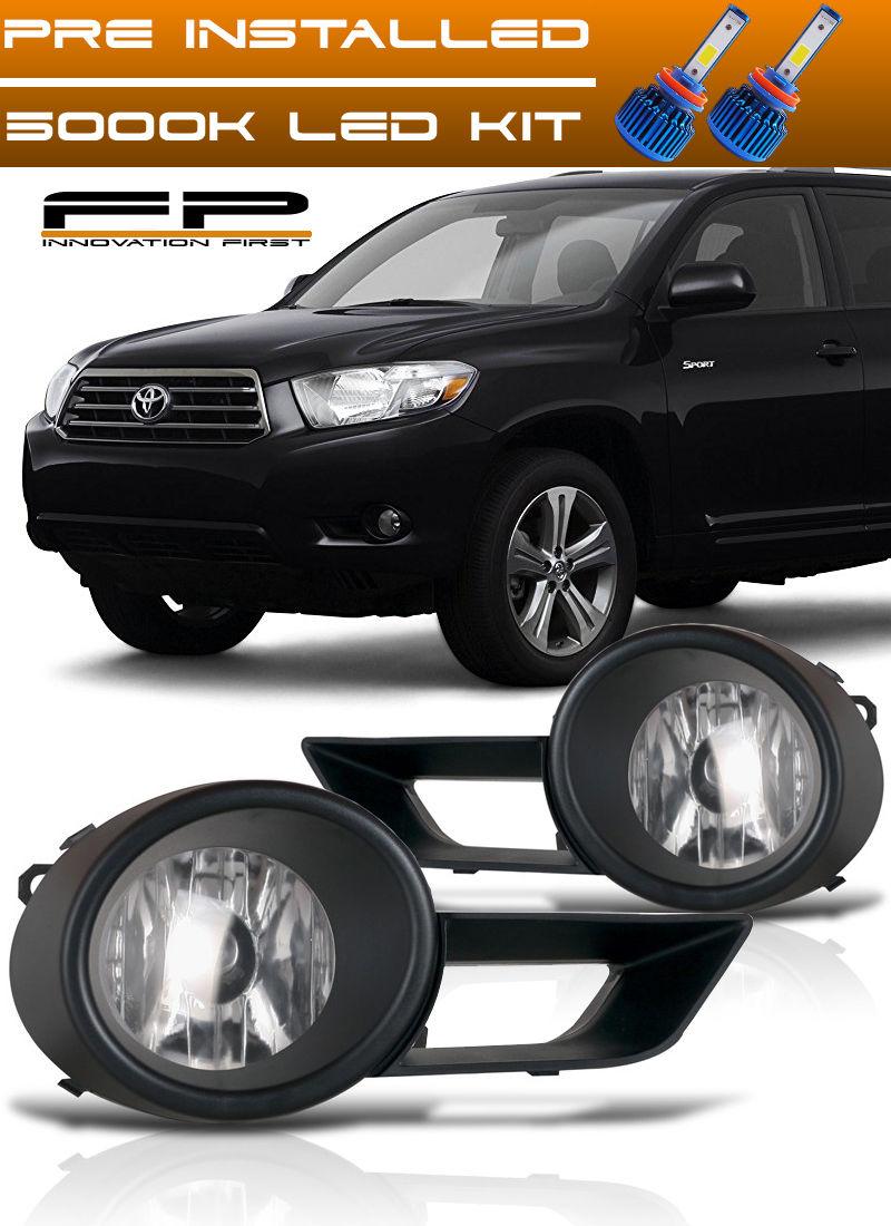 フォグライト LED + 2008-2010 Toyota Highlander Bumper Driving Clear Fog Lights Complete Kit LED + 2008-2010トヨタハイランダーバンパードライクリーニングクリアフォグライト完成キット