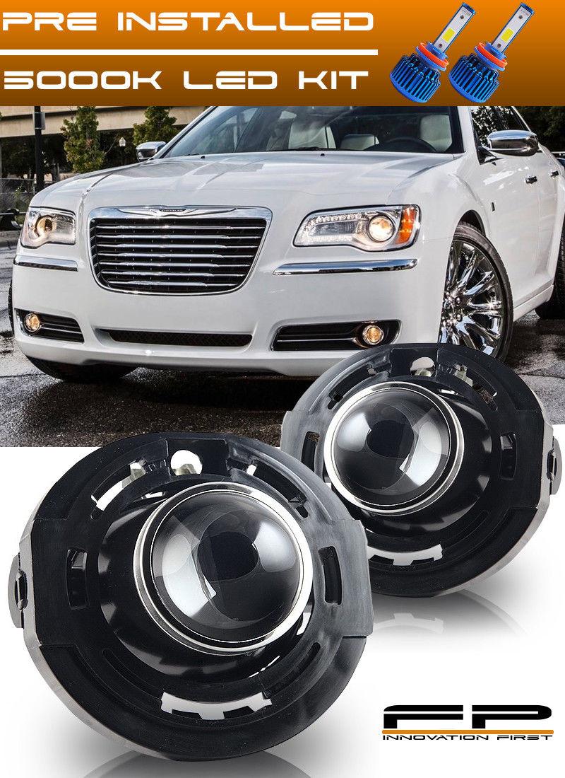 フォグライト LED + 2011-2014 Chrysler 300 Clear Replacement Fog Lights Housing Assembly Pair LED + 2011-2014クライスラー300明確な交換用フォグライトハウジングアセンブリペア