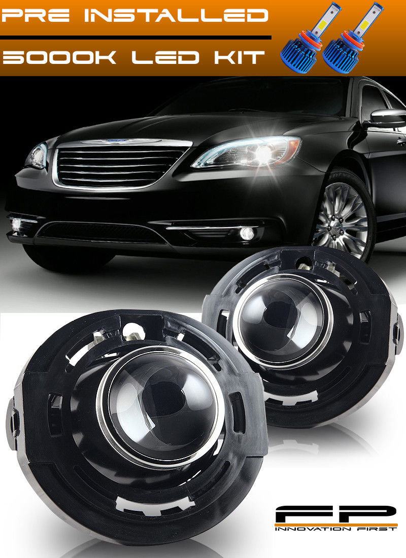 フォグライト 2011-2014 Chrysler 200 LED Replacement Fog Lights Housing Assembly Pair LH/RH 2011-2014クライスラー200 LED交換用フォグライトハウジングアセンブリペアLH / RH