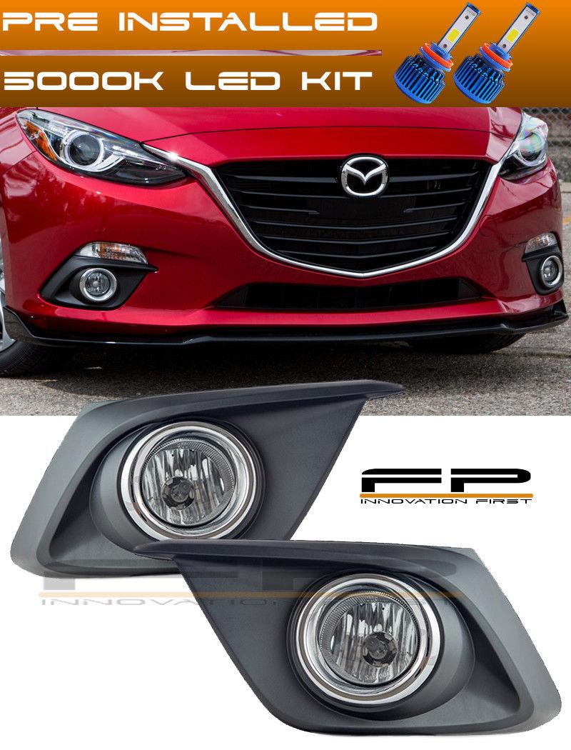 フォグライト LED + 2014-2016 Mazda 3 Clear Lens Fog Light + Wiring Switch Bezel Complete Kit LED + 2014-2016マツダ3クリアレンズフォグライト+配線スイッチベゼル完成キット
