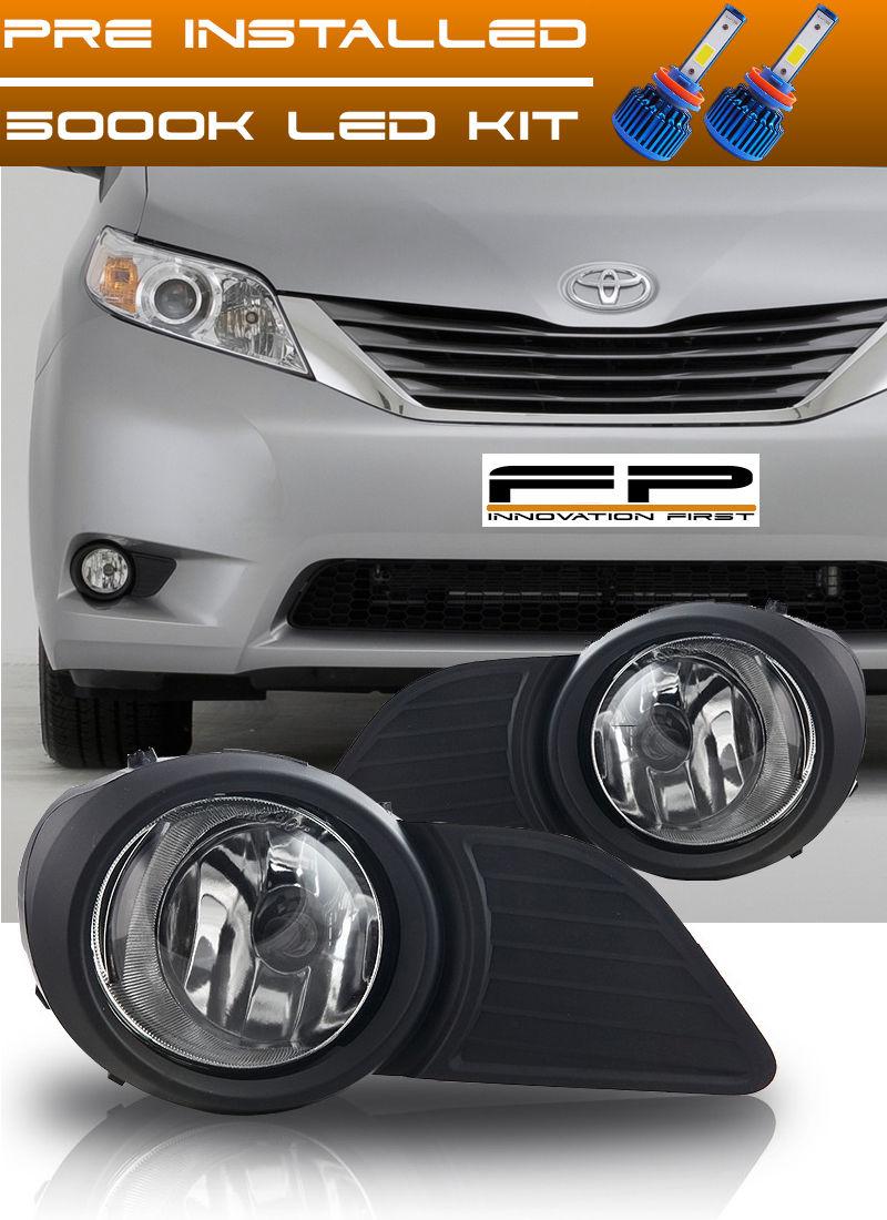 フォグライト LED KIT + 2011-2015 Toyota Sienna Clear Lens Fog Light Driving Lamp Complete Kit LED KIT + 2011-2015トヨタシエナクリアレンズフォグライトドライビングランプコンプリートキット