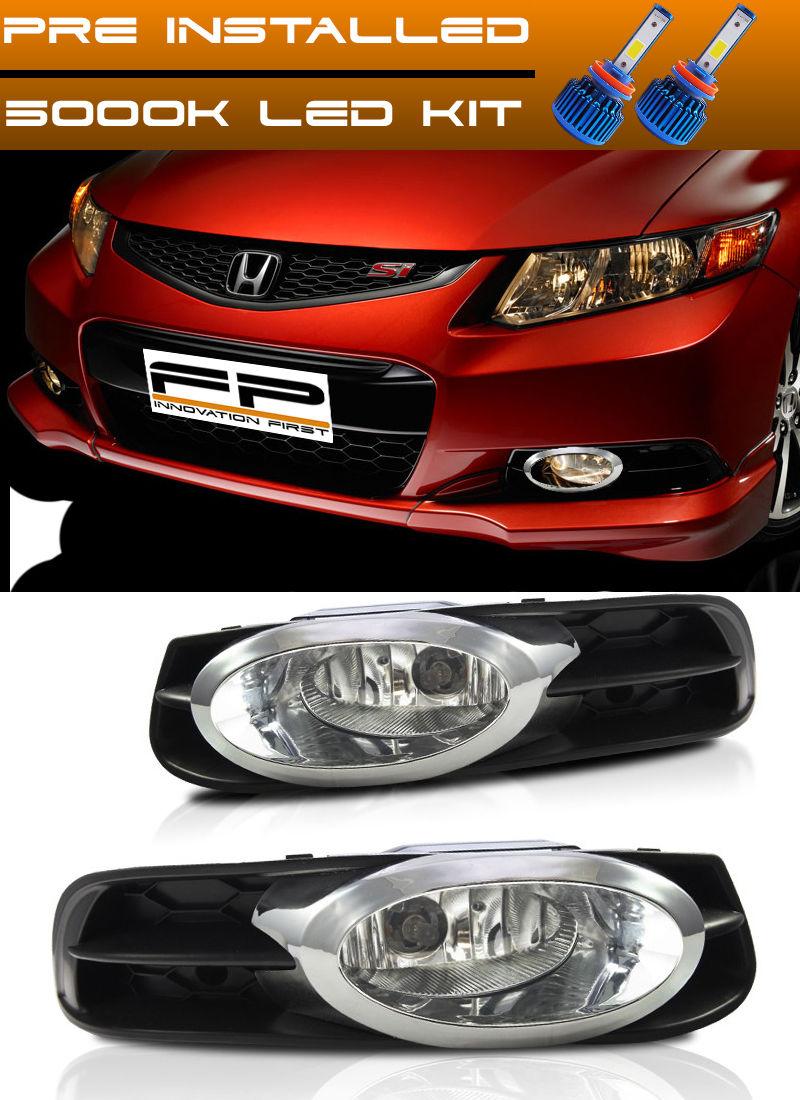 フォグライト LED + 12-13 Honda Civic Fog Lights 2 DOOR Coupe Clear Lens Bumper Lamps Full Kit LED + 12-13ホンダシビックフォグライト2ドアクーペクリアレンズバンパーランプフルキット