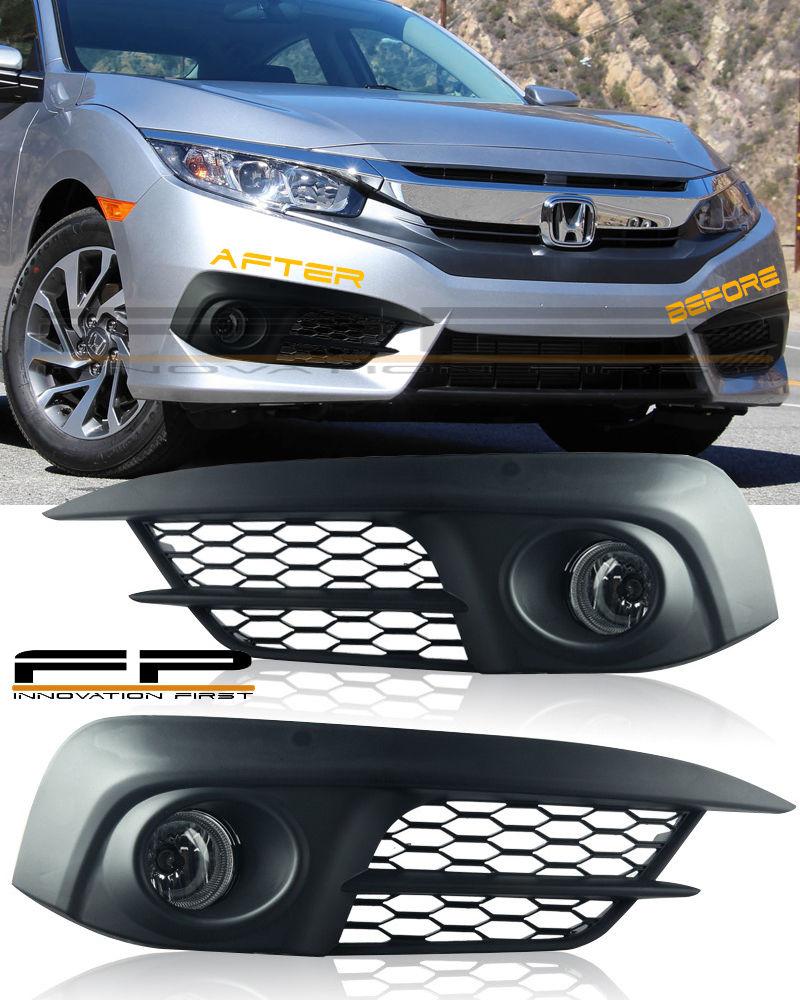 フォグライト 2016 2017 Honda Civic Sedan 4 Doors Fog Lights Clear +Wiring Kit Switch Full Kit 2016 2017ホンダシビックセダン4ドア曇りライトクリア+配線キットスイッチフルキット