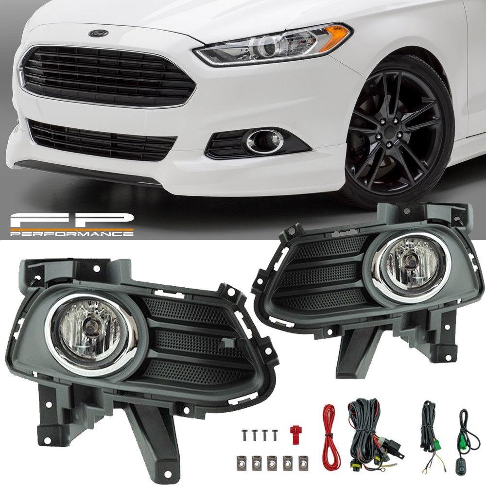フォグライト For 13 14 15 16 Ford Fusion Clear Lens Fog Light Full Kit w/ Wiring Switch Bezel 13 14 15 16 Ford Fusionクリアレンズフォグライトフルキット/配線スイッチベゼル