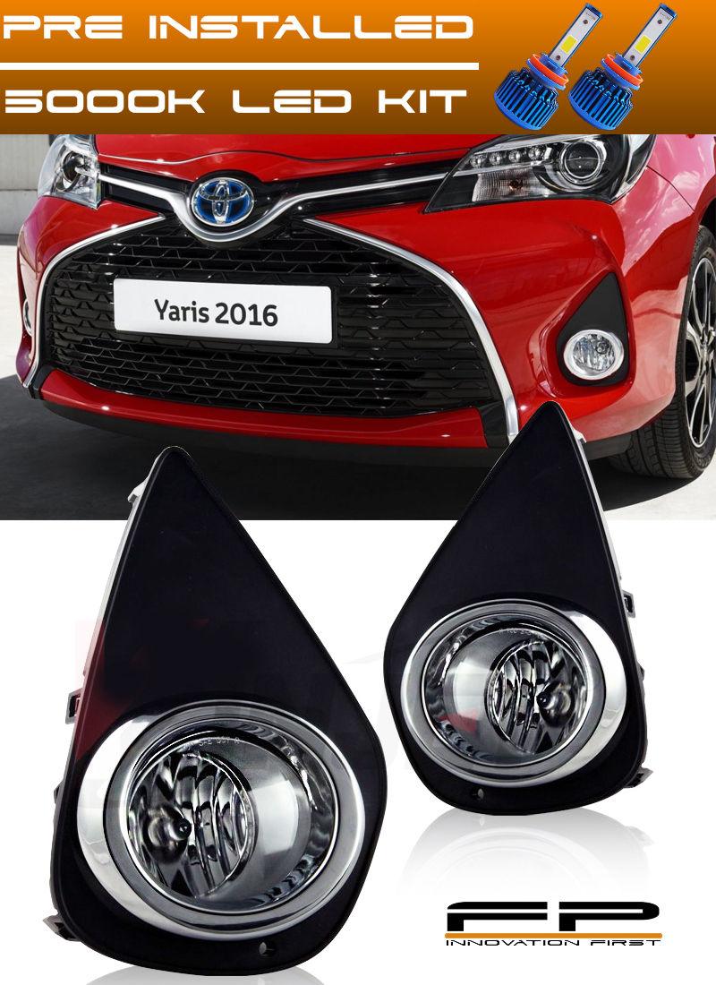 フォグライト 2015-2017 Toyota Yaris LED Clear Fog Light Lamp Complete Kit With Switch+Harness 2015-2017トヨタヤリスLEDクリアフォグライトランプコンプリートキット(スイッチ+ハーネス付)
