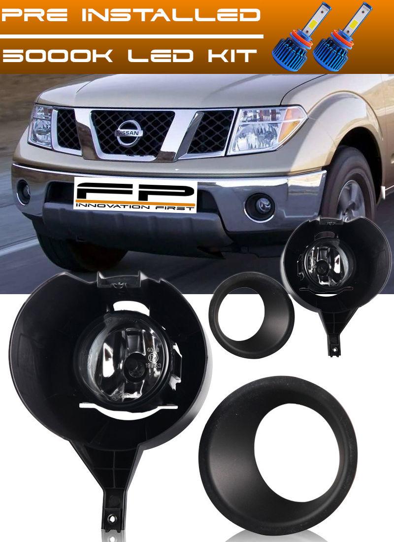 フォグライト For 2005-2016 Nissan Frontier With Metal Chrome Bumper Fog Lights Full Kit + LED 2005-2020 Nissan Frontier with Metal Chrome Bumperフォグライトフルキット+ LED