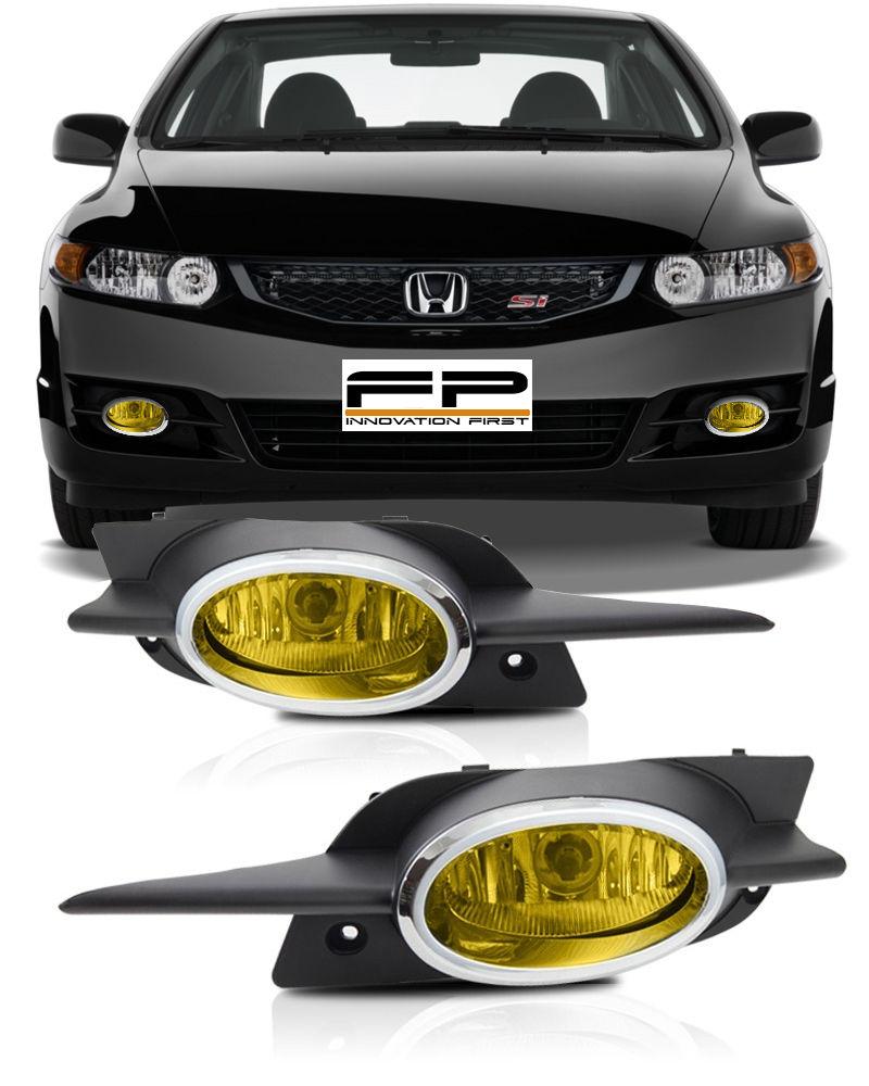 フォグライト 09-11 Honda Civic Coupe Fog Lights JDM Yellow Front Bumper Lamps Complete Kit 09-11ホンダシビッククーペフォグライトJDMイエローフロントバンパーランプ完成キット