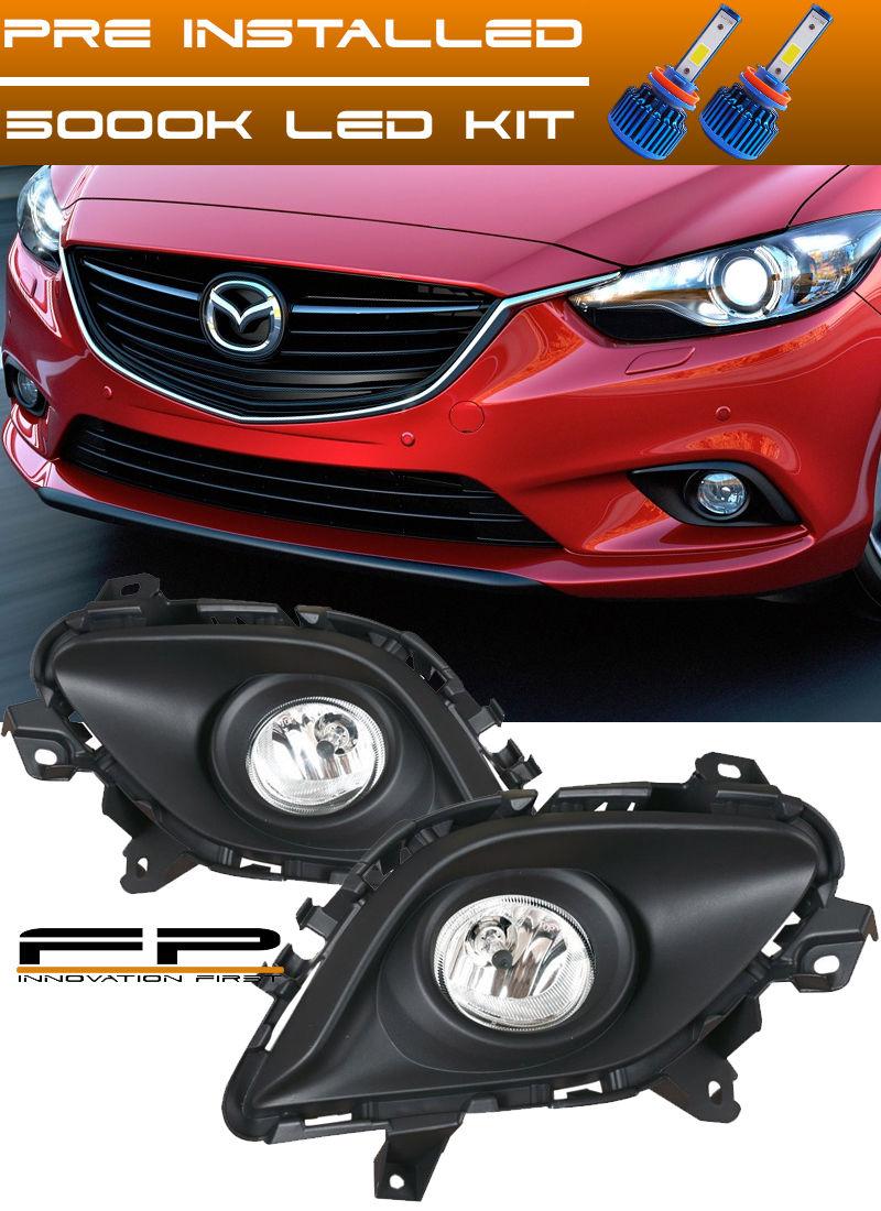 フォグライト LED + 2014-2015 Mazda 6 Sport Sedan 4-Door Clear Driving Fog Light Complete Kit LED + 2014-2015マツダ6スポーツセダン4ドアクリアドライビングフォグライトコンプリートキット