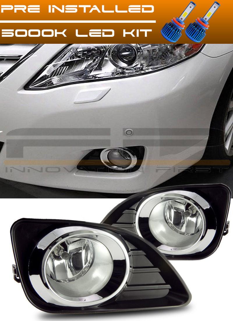 フォグライト 2010-2011 Toyota Camry LED Fog Lights Clear Lens Front Driving Lamp Complete Kit トヨタカムリLEDフォグライトクリアレンズフロントドライブランプキット