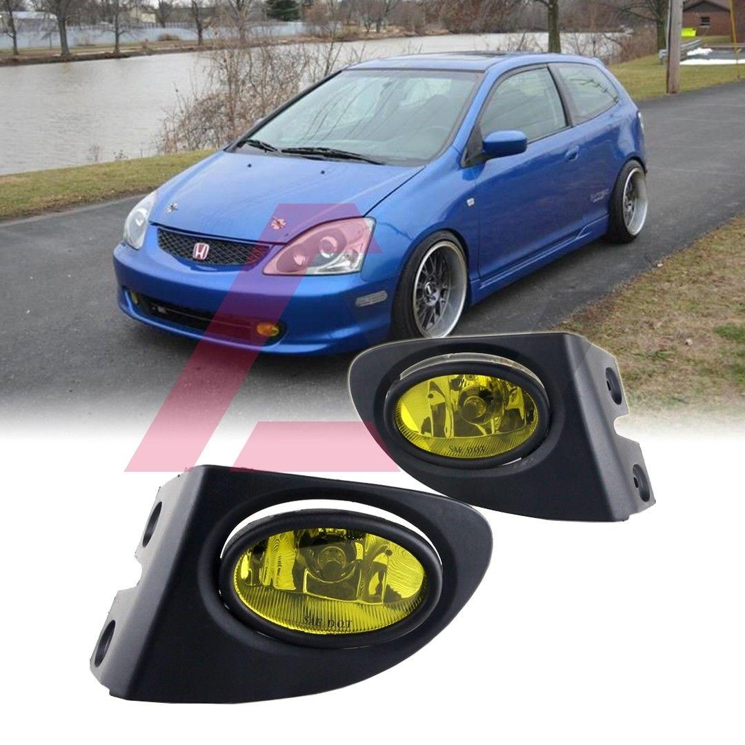 フォグライト For 2002-2005 Honda Civic Fog Lights (Wiring, Switch, and Bezels) Yellow Lens 2002?2005年ホンダシビックフォグライト(配線、スイッチ、ベゼル)イエローレンズ