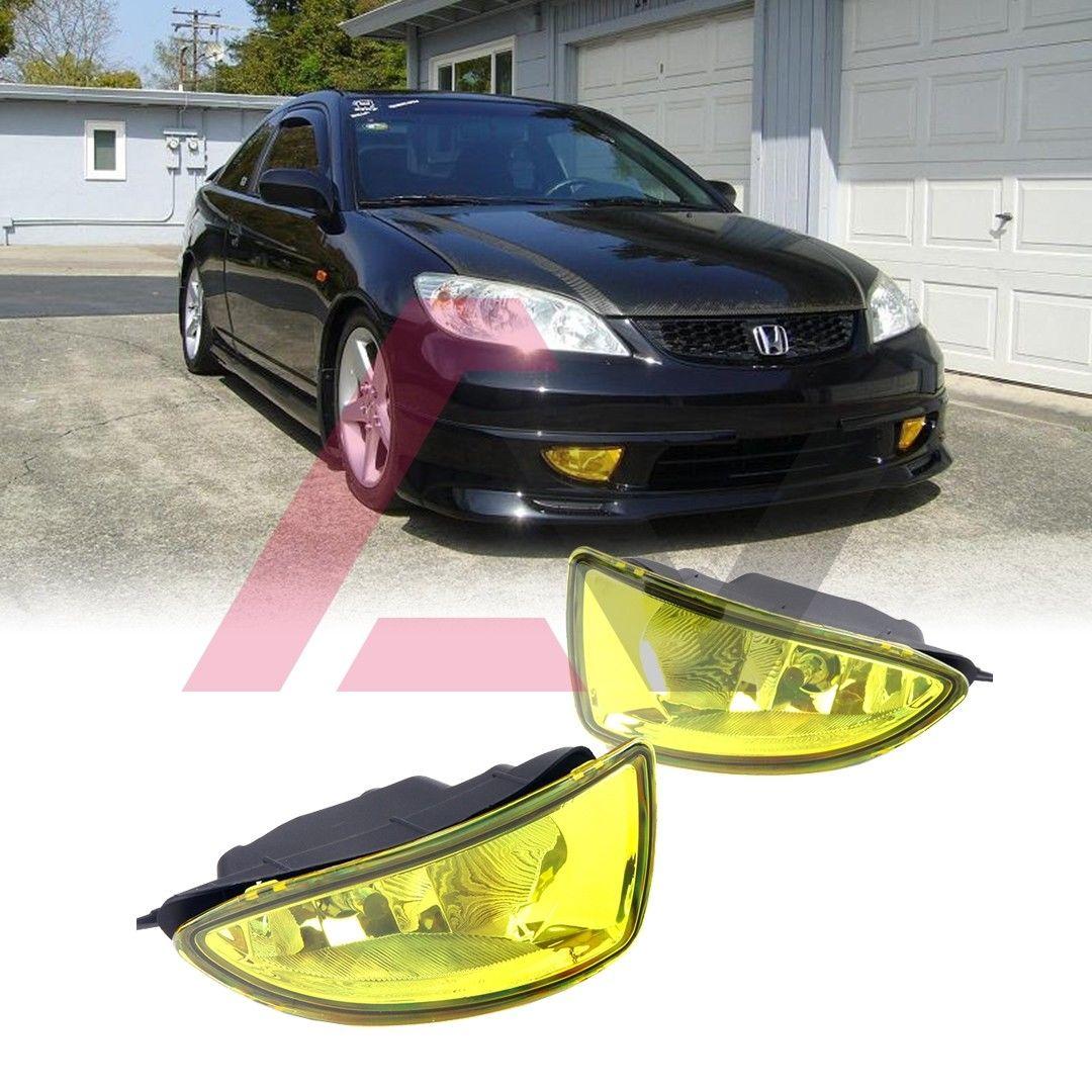 フォグライト For 2004-2005 Honda Civic Fog Lights (Wiring, Switch, and Bezels) Yellow Lens 2004-2005ホンダシビックフォグライト(配線、スイッチ、ベゼル)イエローレンズ用