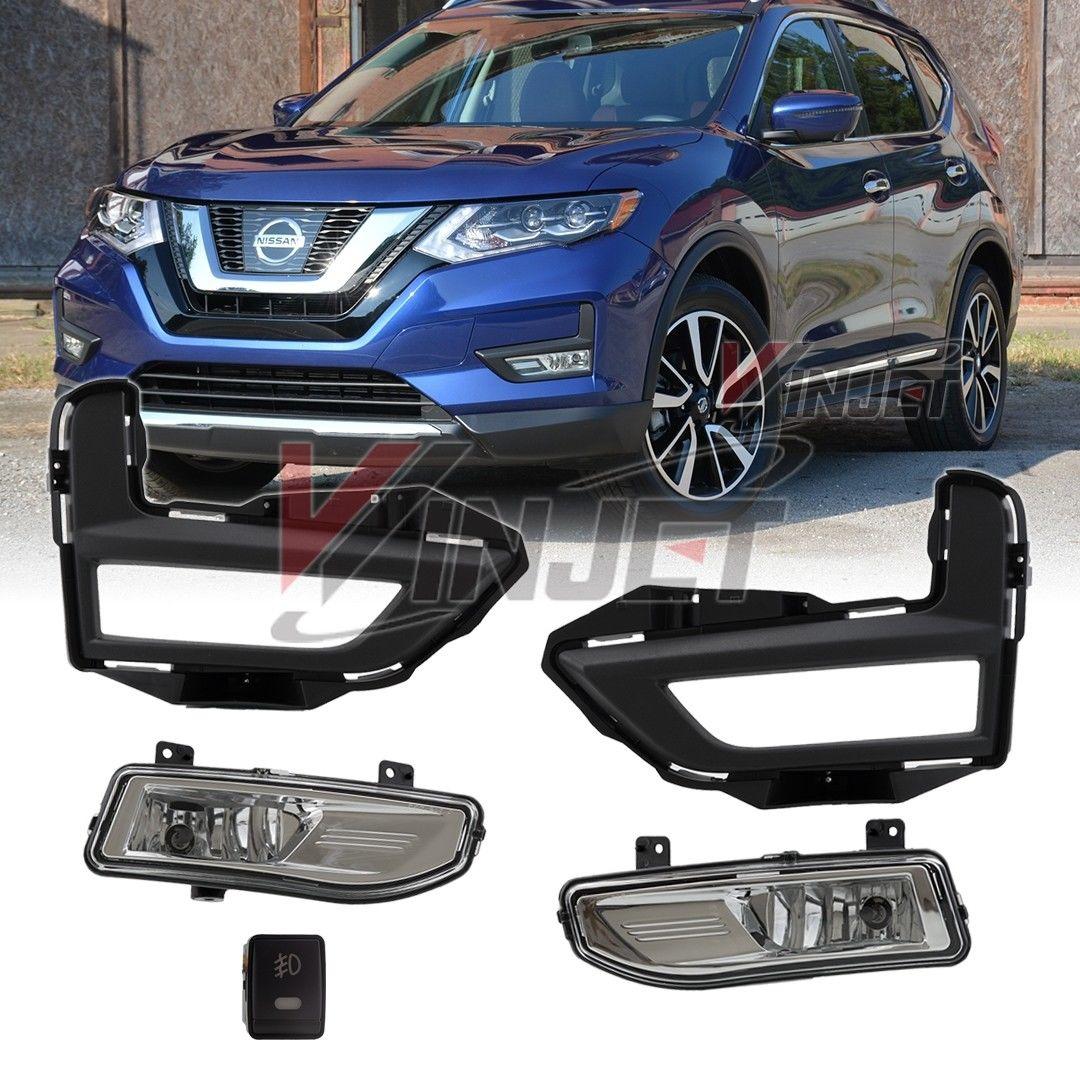 フォグライト For 2017 2018 Nissan Rogue Fog Light Full Kit w/ Wring & Switch - Clear 2017年2018年Nissan Rogue Fog Lightフルキット(Wring& スイッチ - クリア