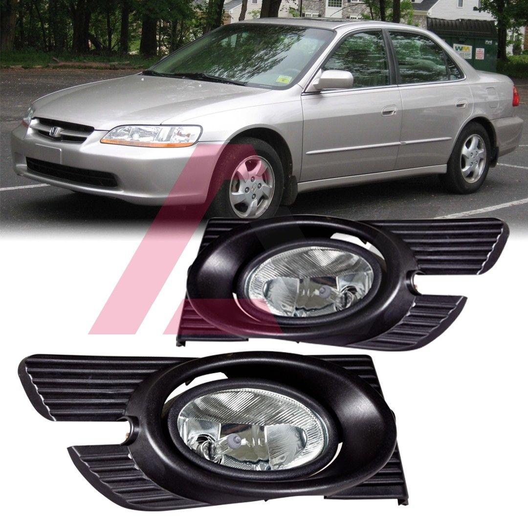 フォグライト For 1998-2002 Honda Accord Fog Lights (Wiring, Switch, and Bezels) Clear Lens 1998 - 2002年ホンダアコードフォグライト(配線、スイッチ、ベゼル)クリアレンズ