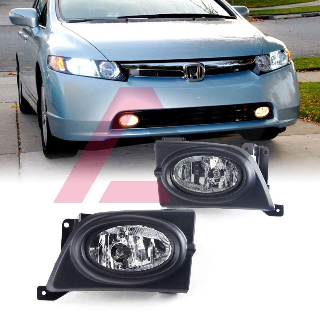 フォグライト For 2006-2008 Honda Civic Fog Lights (Wiring, Switch, and Bezels) Clear Lens 2006 - 2008年ホンダシビックフォグライト(配線、スイッチ、ベゼル)クリアレンズ