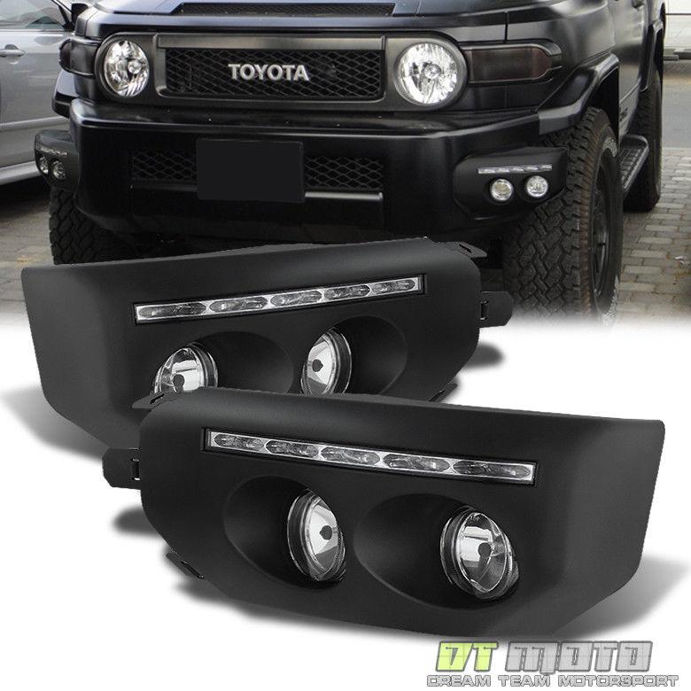 フォグライト For 2007-2014 Toyota Fj Cruiser Black Bumper Fog Lights LED DRL Driving Lamps 2007?2014年トヨタFJクルーザーブラックバンパーフォグライトLED DRL駆動ランプ