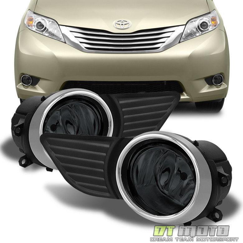 フォグライト For 2011-2017 Toyota Sienna Smoked Fog Lights Bumper Lamps w/ Switch Left+Right トヨタシエンナスモークフォグライトバンパーランプ(左/右)