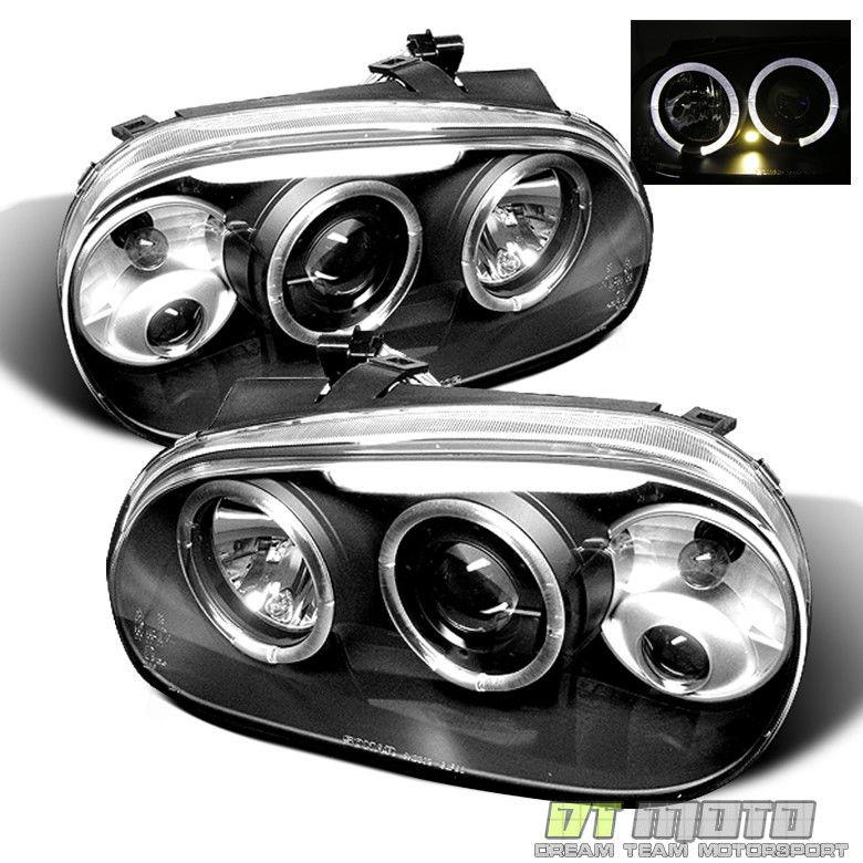 フォグライト Black 99-06 VW Golf Mk3 Dual Halo Projector Headlights w/Fog Lights Left+Right ブラック99-06 VWゴルフMk3デュアル・ハロー・プロジェクター・ヘッドライト(フォグライト付左/右)