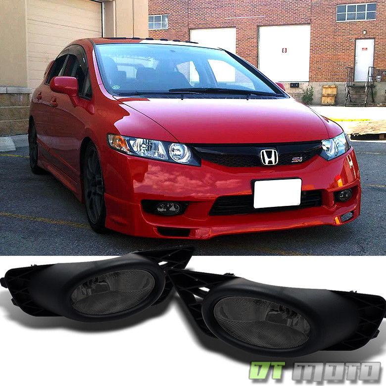 フォグライト For Smoked 2009-2011 Honda Civic Sedan Bumper Fog Lights Lamp +Switch Left+Right スモーク2009-2011ホンダシビックセダンバンパーフォグライトランプ+スイッチ左+右