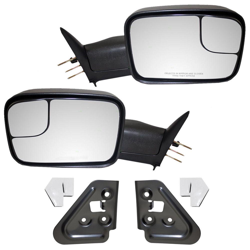 ミラー 94-02 Dodge Pickup 4 Pc Set Manual Tow Flip-Up 7x10 Mirrors & Mounting Brackets 94-02ドッジピックアップ4 Pcセットマニュアルトウフリップアップ7x10ミラー& 取り付けブラケット