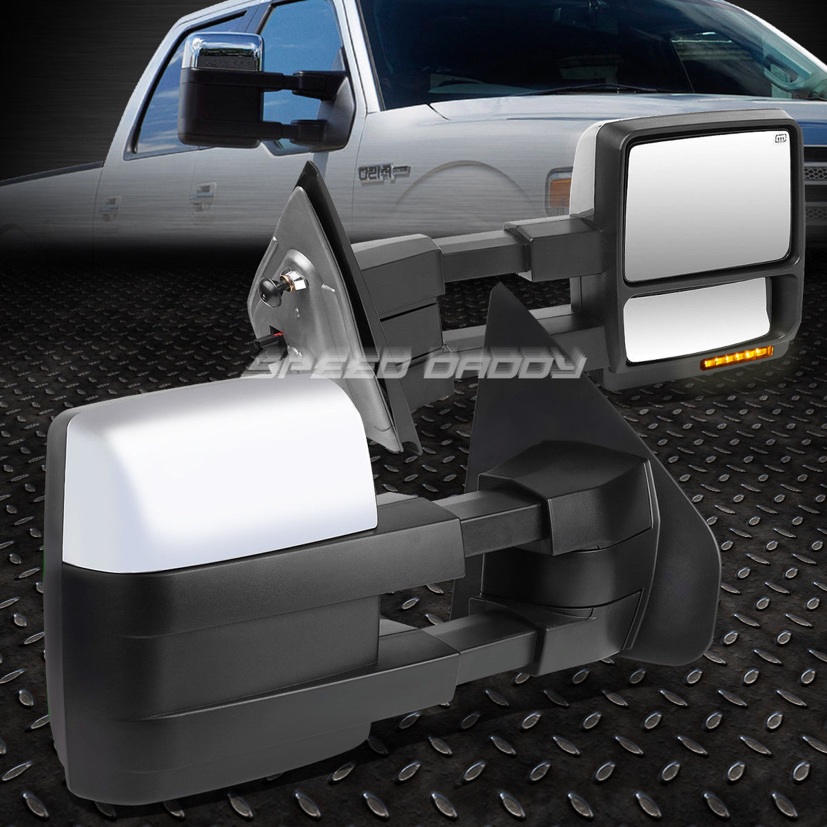 ミラー FOR 04-14 F150 PAIR POWERED+HEAT CHROME TOWING MIRROR+LED SIGNAL+PUDDLE LIGHT FOR 04-14 F150ペアパワー+ヒートクロムタワーミラー+ LED信号+ PUEDLEライト