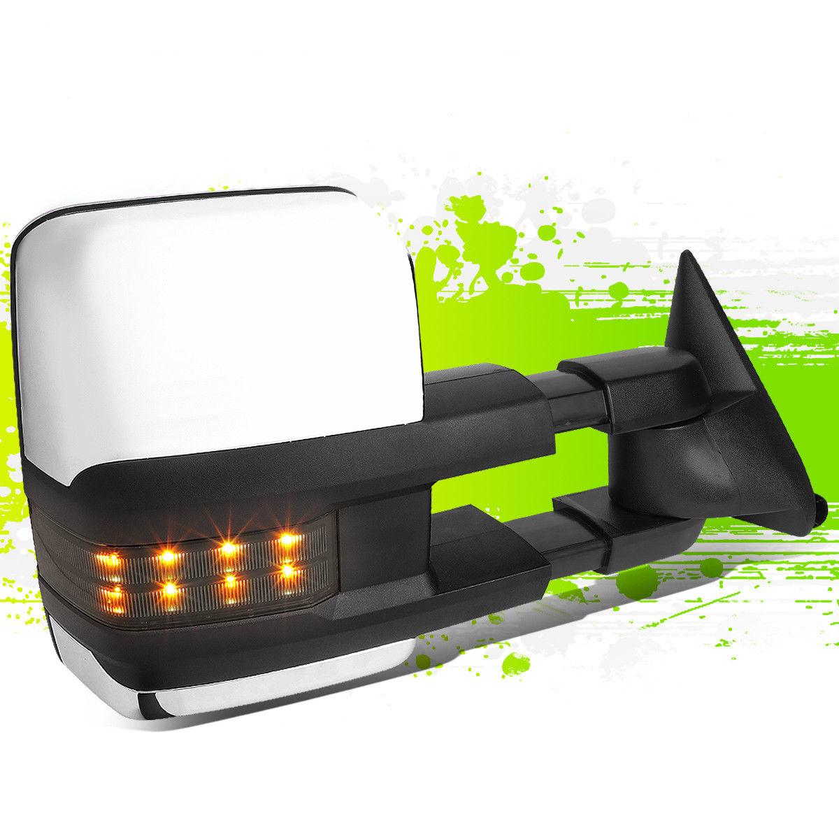 ミラー CHROME POWERED TOWING MIRROR W/SMOKED LED SIGNAL RIGHT FOR 88-02 CHEVY GMC C/K CHROME POWERED TOWING MIRROR W / 88-02 CHEVY GMC C / KのためのSMOKED LEDシグナル