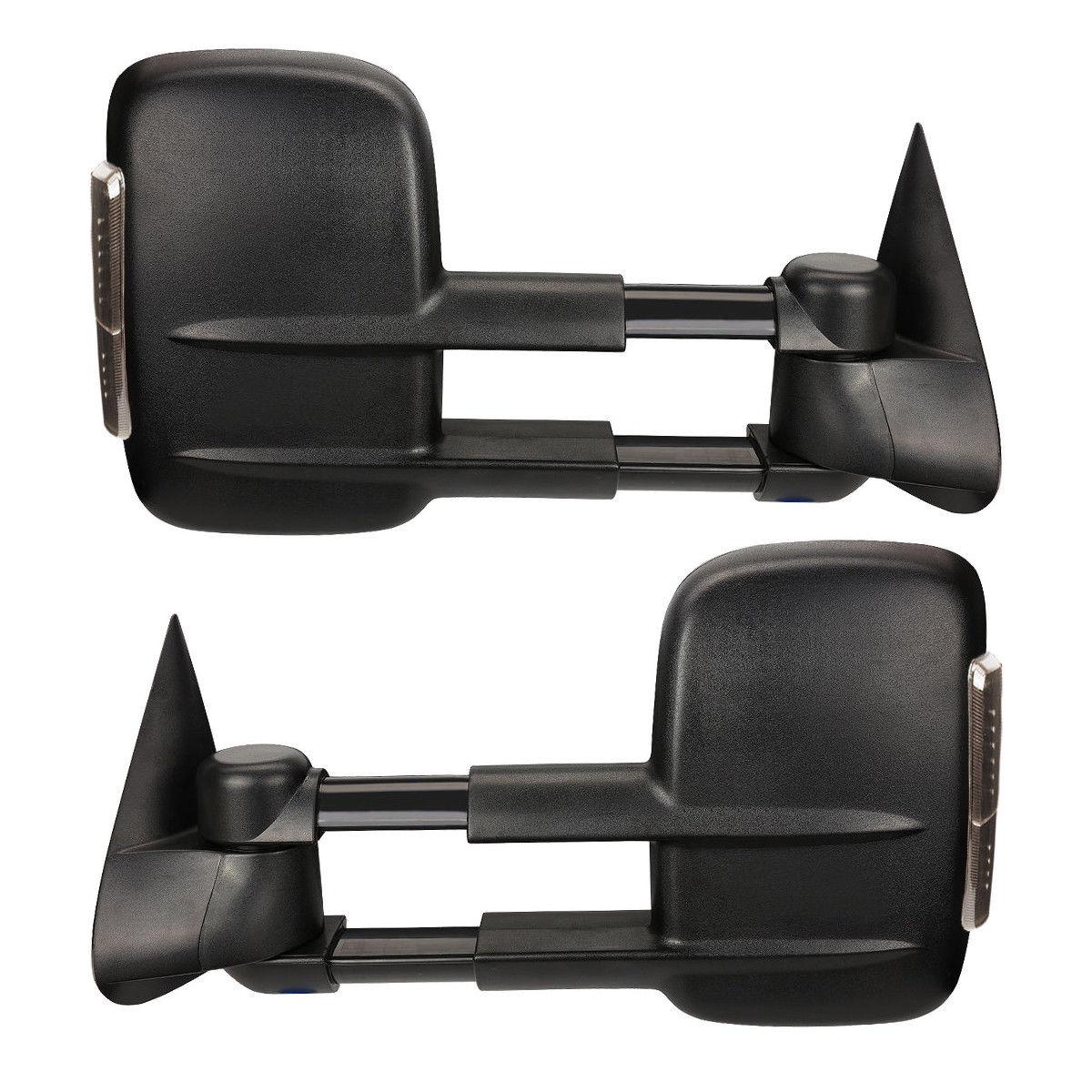 ミラー New Set of 2 Power Heated Smoke LED Towing Mirrors for Chevy/GMC 2007-2013 Pair Chevy / GMC 2007-2013ペアの2つのパワー加熱煙LED牽引ミラーの新しいセット