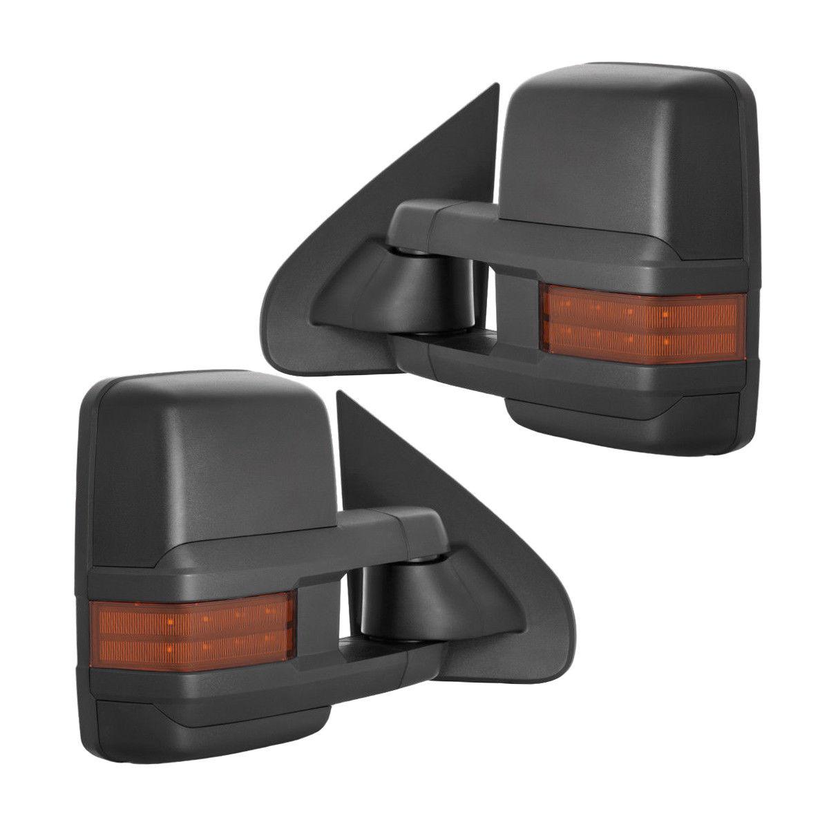 ミラー New Set of 2 Power Amber Turn Signal Tow Mirrors for Chevy/GMC Truck 03-06 Pair Chevy / GMCトラック用パワーアンバーターンシグナルトウミラーの新しいセット03-06ペア