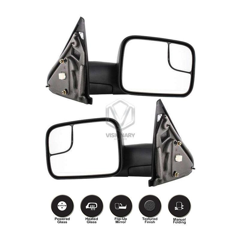 ミラー Dodge Ram 1500 2500 3500 Towing Mirrors Pair Power Heated Flip-Up Black 2002-08 Dodge Ram 1500 2500 3500牽引ミラーペアパワーヒートフリップアップブラック2002-08
