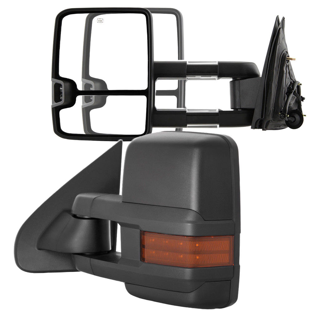 ミラー New Driver/Left Power Amber LED Turn Signal Tow Mirror for Chevy/GMC Truck 03-06 Chevy / GMCトラック用の新型ドライバー/左パワーアンバーLEDターンシグナルミラー