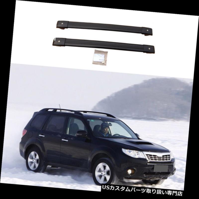 キャリア スバルフォレスター2008年-2016年のための2 *黒いアルミニウムクロスバーの屋根の貨物荷物の棚 2*Black Aluminum Cross Bar Roof Cargo Luggage Rack For Subaru Forester 2008-2016