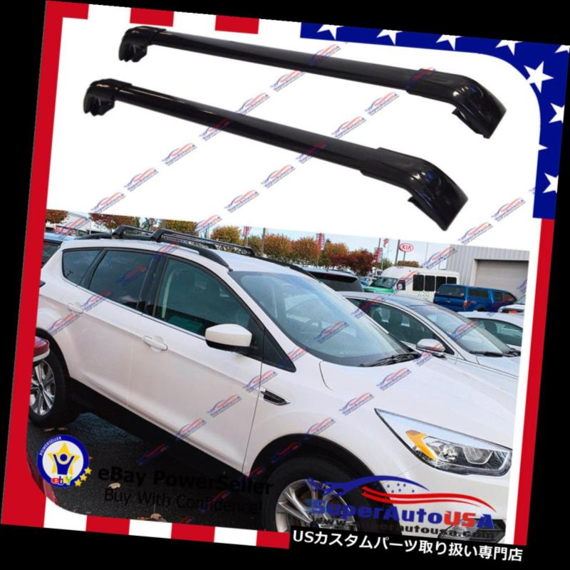 Luggage Pair 2013-2019 Ford Roof Bar Rack Top フォードエスケープ2013-2019トップルーフラック荷物キャリアクロスバーペア用 For Cross Escape Carrier キャリア
