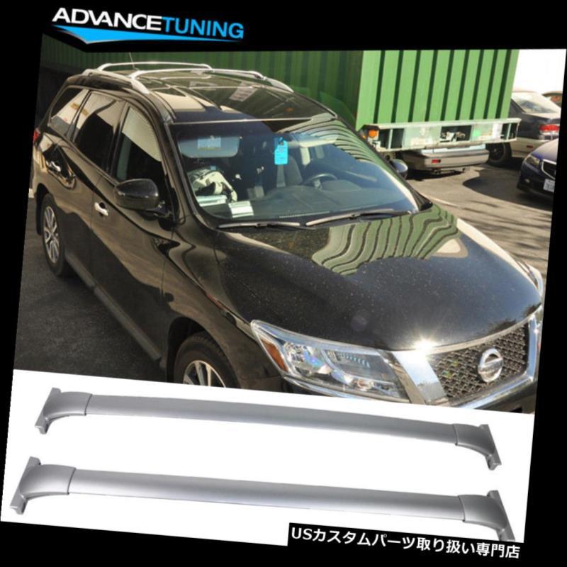 キャリア 13-17日産パスファインダールーフラックトップクロスバーレールペア - シルバーアルミにフィット Fits 13-17 Nissan Pathfinder Roof Rack Top Cross Bar Rail Pair - Silver Aluminum