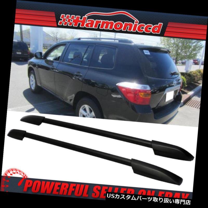 キャリア 08-13トヨタハイランダーブラックルーフラックレールOEスタイルにフィット Fits 08-13 Toyota Highlander Black Roof Rack Rail OE Style