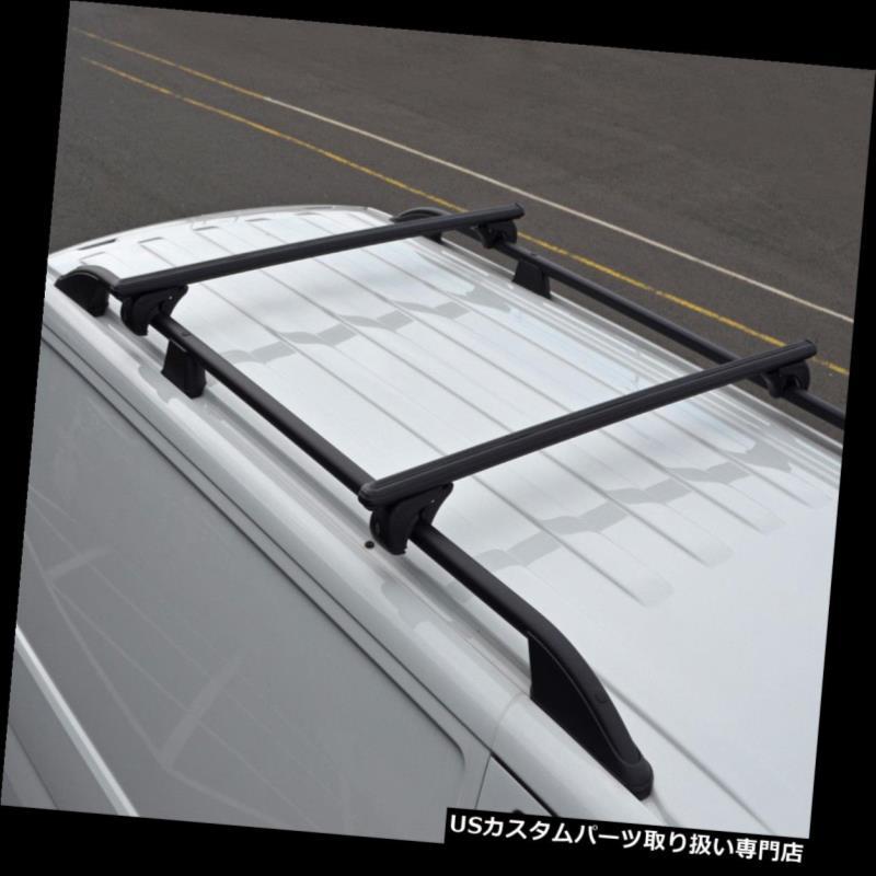 キャリア ロックできるフォルクスワーゲンT5の運送者100KGに合うべき屋根柵のための黒い十字棒 Black Cross Bars For Roof Rails To Fit Volkswagen T5 Transporter 100KG Lockable