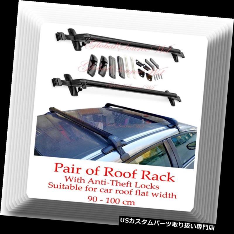 キャリア アルミニウムCarTop荷物ルーフラッククロスバーキャリア調節可能90-100cm W /ロック Aluminum CarTop Luggage Roof Rack Cross Bar Carrier Adjustable 90-100cm W/Locks