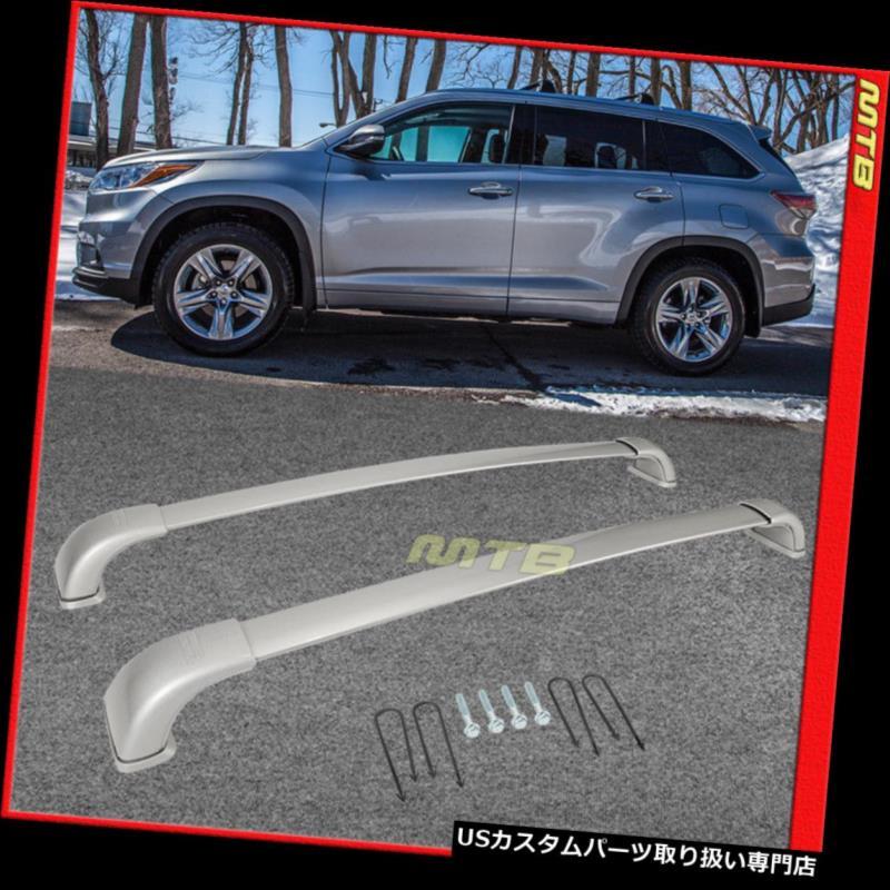 キャリア 2014-2018トヨタハイランダーXLE限定ルーフラックペアクロスバーアルミシルバー 2014-2018 Toyota Highlander XLE Limited Roof Rack Pair Cross Bar Aluminum Silver