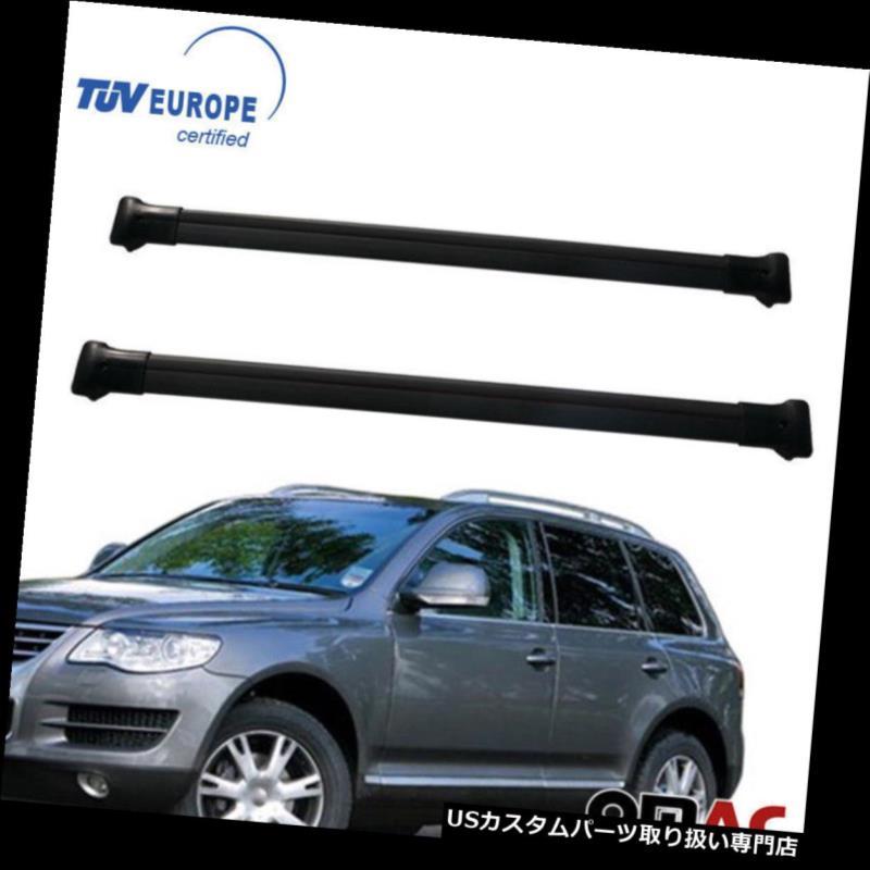 キャリア VW TOUAREG 2003-2010ルーフラッククロスバーキャリアレールブラックアルミ2個 VW TOUAREG 2003-2010 Roof Racks Cross Bars Carrier Rails Black Aluminum 2 Pcs