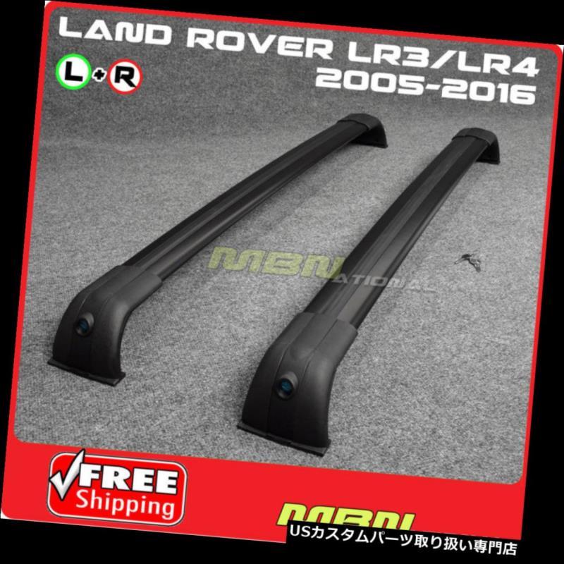 キャリア 05-16ランドローバーLR3 LR4ファクトリースタイルアルミルーフラッククロスバーブラックwキー 05-16 Land Rover LR3 LR4 Factory Style Aluminum Roof Rack Cross Bars Black w Key