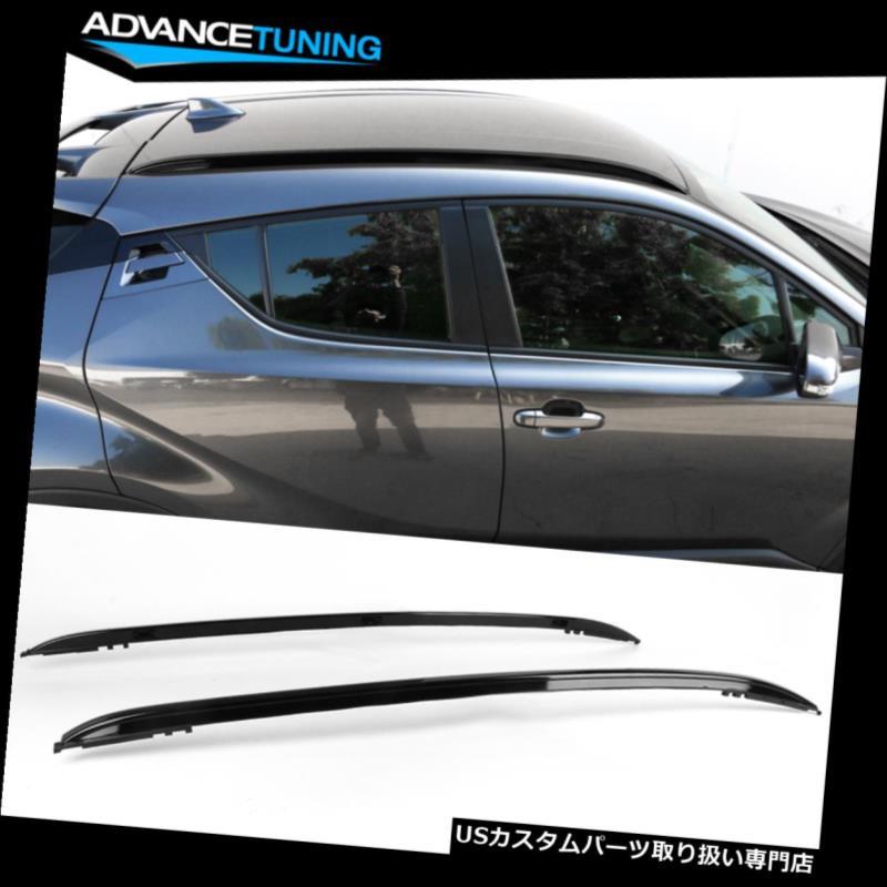 キャリア 17-19トヨタCHRファクトリーブラックルーフラックサイドレールバーアルミにフィット Fits 17-19 Toyota CHR Factory Black Roof Rack Side Rails Bar Aluminum